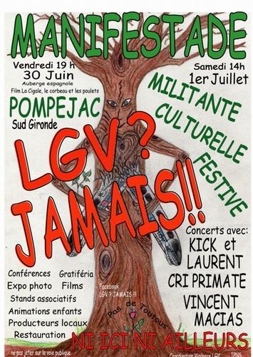 "LGV:""manifestade"" à Pompéjac, fête à Bordeaux"