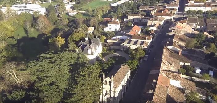 L'avenir de l'espace rural en question (vue aérienne de Blasimon;copie d'écran vidéo  du site)
