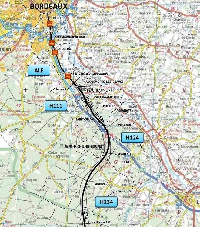 Le tracé proposé en Gironde