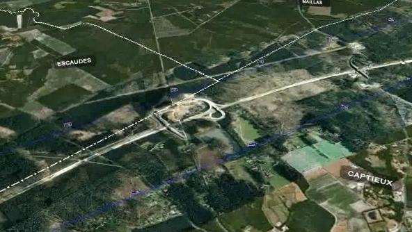 Le passage  la LGV près de Captieux (image virtuelle GPSO)