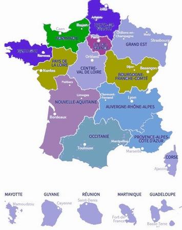 La carte des nouvelles régions (d'après carte ARF)