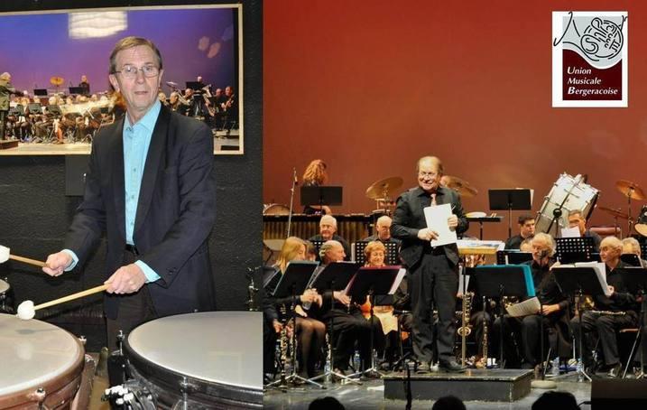 Guy FERIOT, le nouveau Président de l'UMB aux percussions et Jean-Jack CHAUMONT dirigeant l'orchestre (Ph RD)