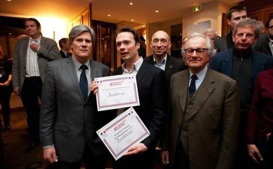 Pierre-Jean Romatet, fondateur de Bordovino, entouré de Stéphane Le Foll, Denis Hennequin et Paul Dubrule