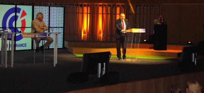 Pendant l'intervention de Pierre Gattaz (Ph Paysud)