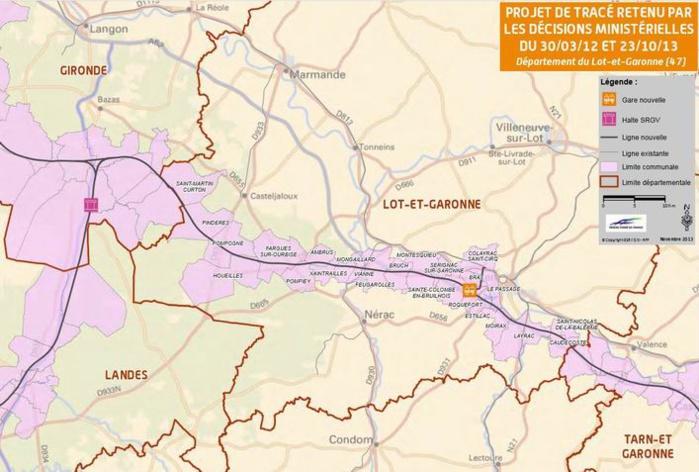 Le passage de la ligne en Lot-et-Garonne (projet)