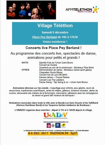 Village Téléthon Place Pey Berland à Bordeaux