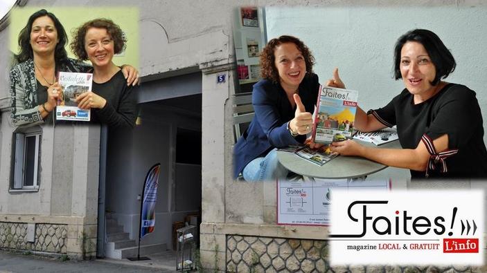Emmanuelle Peyrichou et Isabelle Bournazel en haut à gauche en sept. 2015 avec le n°1 de l'Estafette infos et à droite Isabelle et Emmanuelle en sept. 2018 avec le dernier n° de Faites l'Infos (ph RD)