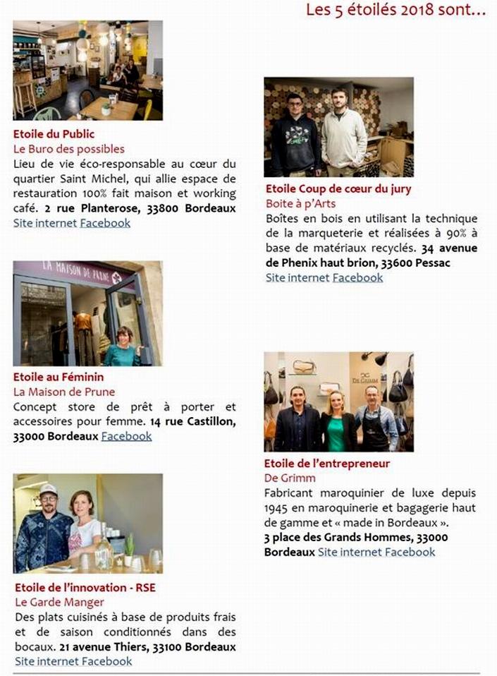 Commerce et artisanat à Bordeaux: les étoilés 2018
