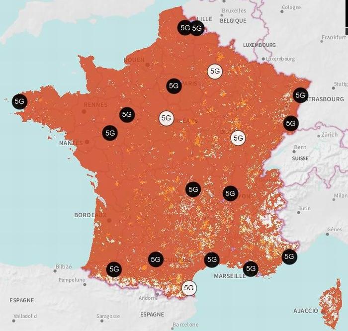 Les villes 5G Orange (cliquer)
