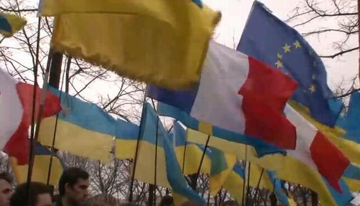 Manifestation d'Ukrainiens à Paris (copie écran Line Press-AFP)