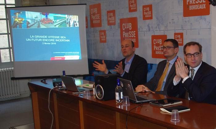 Les dirigeants de LISEA au Club de la Presse de Bordeaux (Ph Paysud)